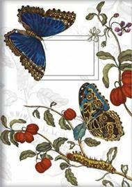 Notitieboekje / schrift | vlinders blauw | 15x21cm