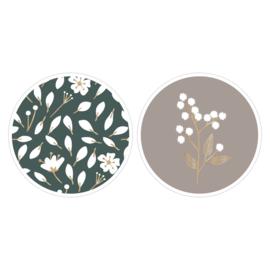 Sticker sluitzegel duo flowers mix petrol | 55mm | 12 stk