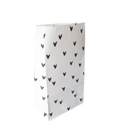 Blokbodem zak - zwarte hartjes | 14x8x26cm | 5stk