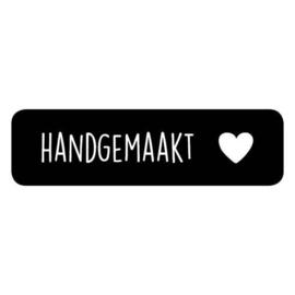Sticker rechthoek zwart | handgemaakte - hartje | 15stk