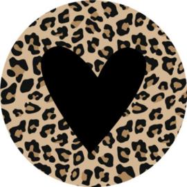 Sticker rond | panter met hart zwart - 10stk