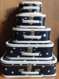 Kinderkoffertje |  blauw met witte sterren in 5 maten