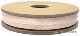 EI 3023 Band 3 meter spoel roze met creme stiksel