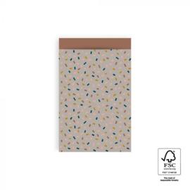 Zakje multi confetti taupe terra | 12x19cm | 5stk