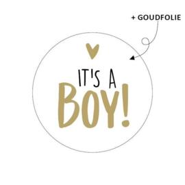 Sticker rond wit - It's a boy | 10stk
