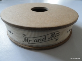 Band Mr and Mrs | grijs| 3m op spoel | EI 3182