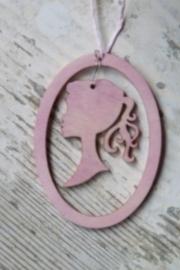 Houten medaillon hanger roze