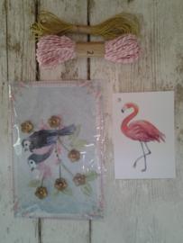 Cadeaukaartje Flamingo / 10 stk