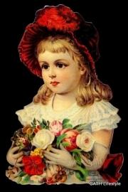 ME 7063 Poezie plaatje Meisje met rode hoed en bloemen Groot