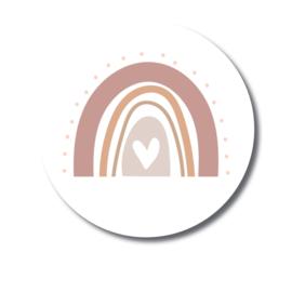 Sticker sluitzegel rond - wit regenboog roze   45mm   10stk