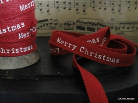 "Twill katoen band / rood ""Merry Christmas""  / per meter / CI"