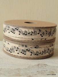 Twill katoen  / muzieknoten band op spoel / 3M