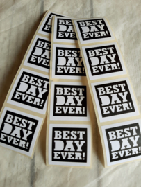 Sticker sluitzegel | best day ever - zwart-wit | 10stk