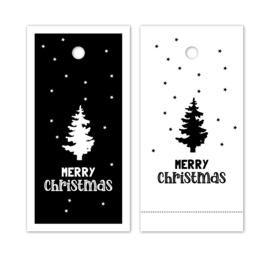 Label zwartwit - Merry Christmas - kerstboom - 5stk