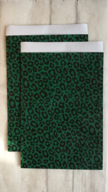 Zakjes | leopard donker groen / zwart | 17x25cm | 5stk