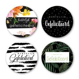 Sticker sluitzegel mix - Gefeliciteerd / flora | 40mm | 16 stuk