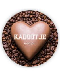 Sticker sluitzegel XL - Kadootje voor jou - coffee