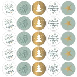 Stickers sluitzegels - kerstprints - cool   10stk