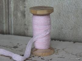 Kant op Houten klos / roze / 15mm / 10m