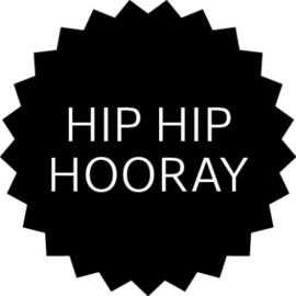 Sticker | ster zwart Hip  Hip Hooray - 10stk