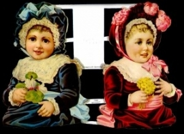 ME 7062 Poezie plaatjes 2 meisjes met hoed
