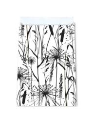 Cadeauzakjes grasplanten zwart-wit | 17x25cm | 5 stk