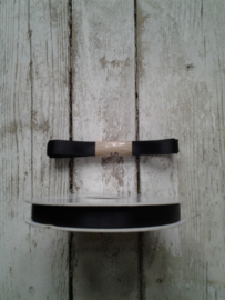 Satijnband dubbelzijdig  - zwart - 10mm / p.m.