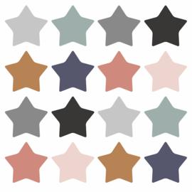 Stickers / sterren assortie kleuren / 16 stk
