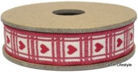 EI 3195 Band 3 meter spoel rood / creme hart