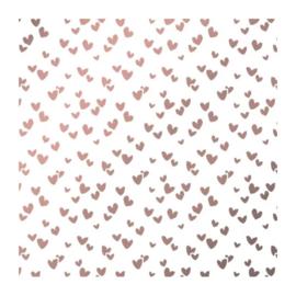 Vloeipapier -tissuepapier | wit met roze metallic hartjes multi | 50x70 cm | 5 stk