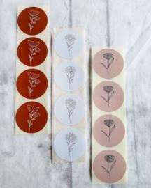 Sticker sluitzegel - bloem nude | 45mm | 10stk
