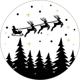 Stickers sluitzegels - zwart wit | Flying Santa | 50mm | 10stk