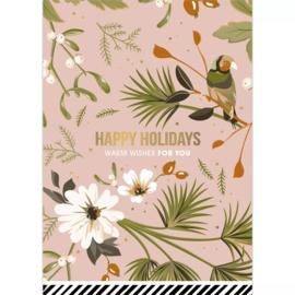 Kerstkaart - vintage roze | Happy Holidays
