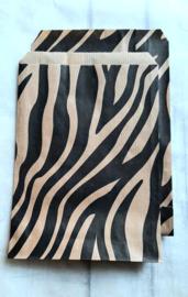 Kado zakjes kraft | zebra  | 13,5x18cm | 5stk
