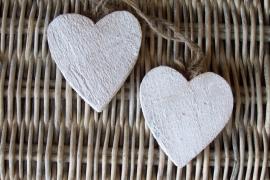 Hartje /wit houten -aan touw