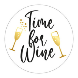 Sticker sluitzegel wit rond - Time for Wine | 45mm | 10stk