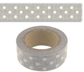 Rol paper ( masking) tape  / grijs met stippen / EI 4722