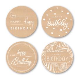 Sticker sluitzegel mix - kraft Happy Birthday | 40mm | 16stk