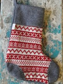 Kerstsok  / grijs rood /  nordic