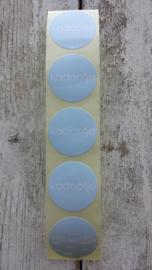 Stickers / rond kadootje babyblue / 40 stks