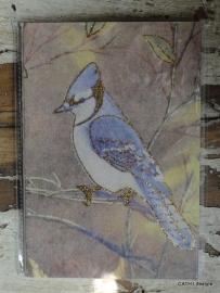 Notitie boekje vogel blauw glitters