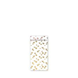 Zakje wit met gouden hartjes | 7x13cm | 5stk