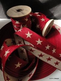Band / geweven / rood met sterren /Stellar - per meter