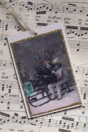 Houten / kerstlabel met glitter