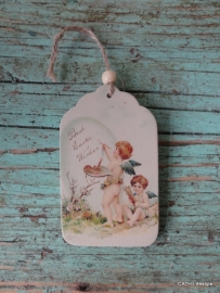 "Houten paas label ""Best Easter Wishes"""