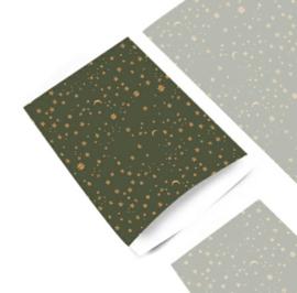 Kado zak | Galaxy sterren green / 12x19cm/ 5 stk
