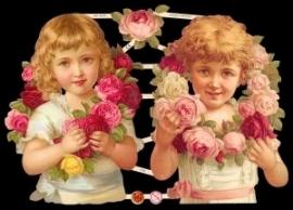 ME 7290 Poezie plaatjes 2 meisjes met bloemenkrans