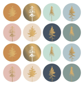 Stickers sluitzegels kerstboom goud - 16  stk