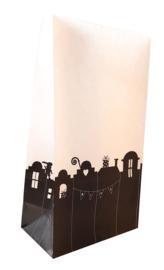Blokbodem zak Sinterklaas | op de daken - zwart-wit | 5stk