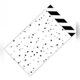 Kado zakjes / zwart-wit  confetti / 12x19cm/ 5 stk